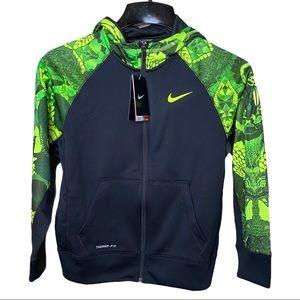 Nike Therma Fit Black Green Boys Sweater Sz Medium